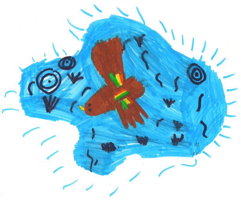 Colour felt tip drawing of a bright blue pond with a large brown bird in the middle